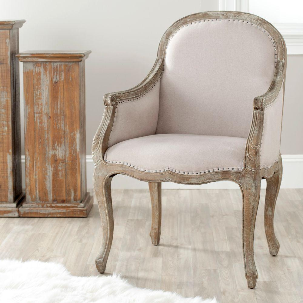 Safavieh esther taupe pickled oak linen arm chair mcr4575a the home depot