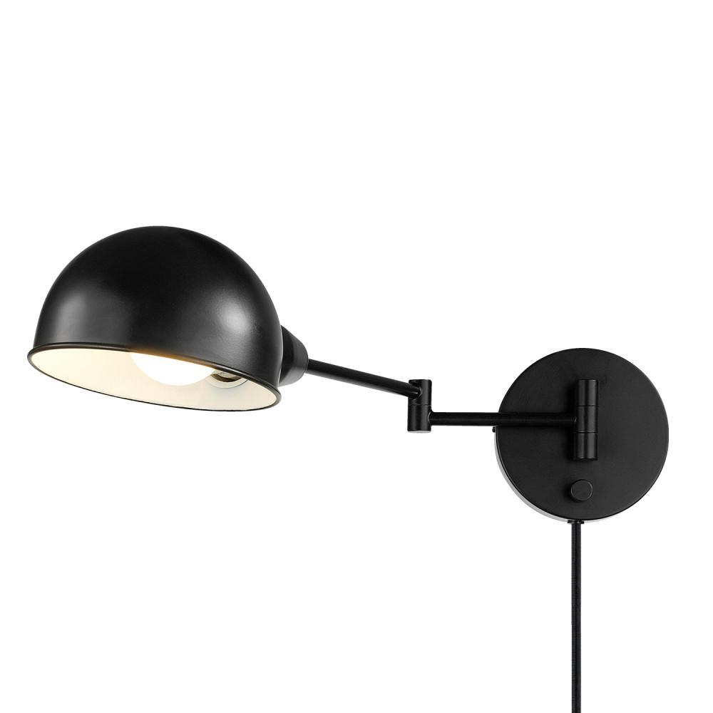 Warner 1-Light Dark Bronze Plug-In or Hardwire Industrial Sconce