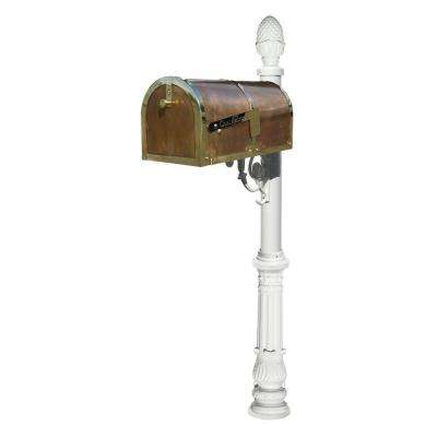 Polished Brass Post Mount Mailbox with Lewiston Post System