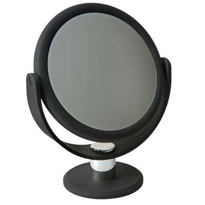 Dual Sided 10X Magnification 7 in. Rubberized Vanity Mirror in Black