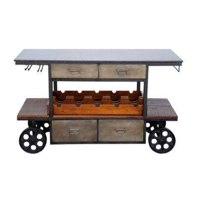 Farandi Collection Natural Kitchen Island Cart
