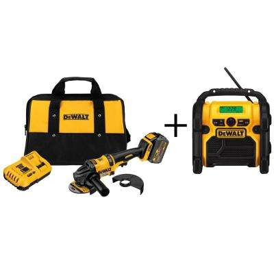 FLEXVOLT 60-Volt Lithium-Ion Cordless 4-1/2 in. Angle Grinder Kit with Bonus Worksite Radio