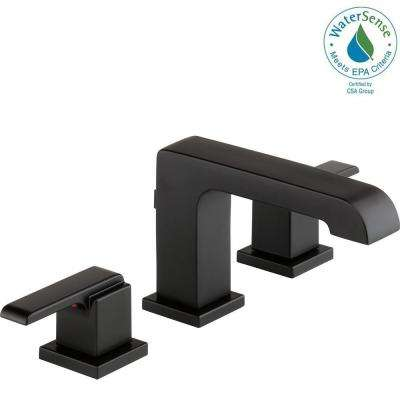Ara 8 in. Widespread 2-Handle Bathroom Faucet with Metal Drain Assembly in Matte Black