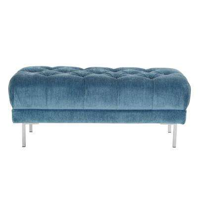 Addie Royal Tufted Bench in Fabric with Chrome Legs