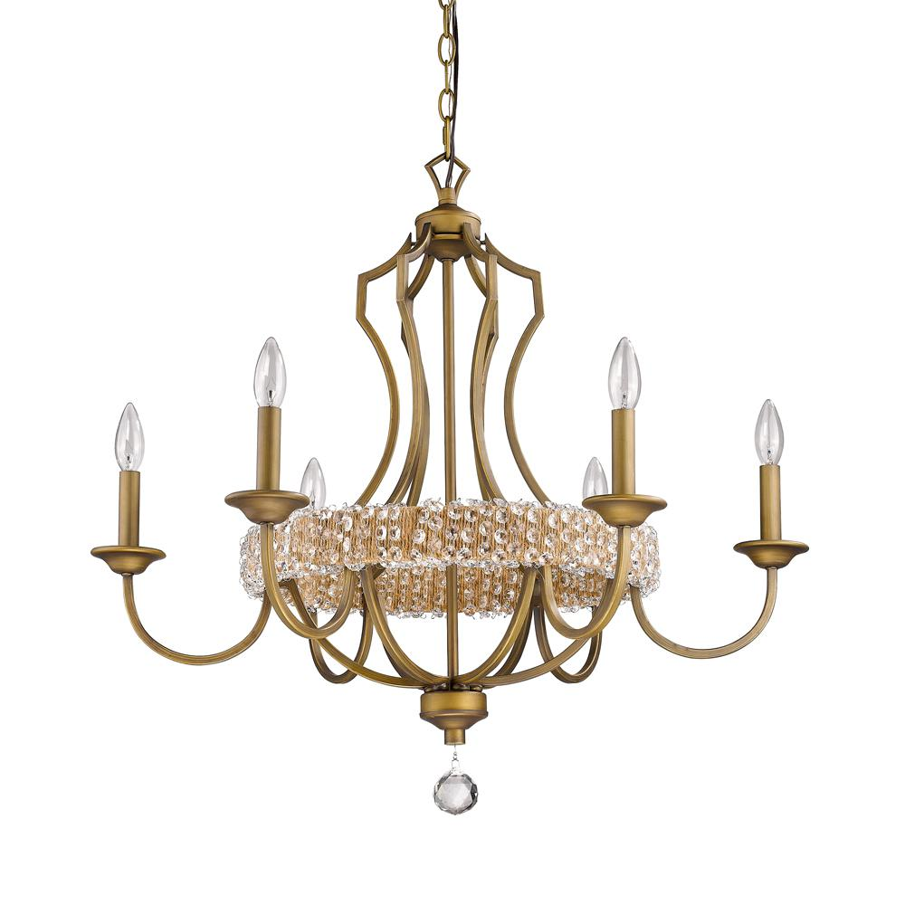 Brass crystal chandeliers lighting the home depot ava 6 light indoor raw brass chandelier with crystal pendant mozeypictures Choice Image