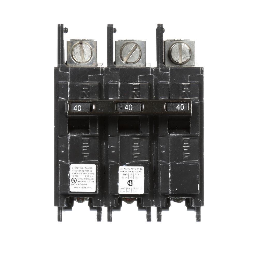 Siemens 40 Amp Triple-Pole Type BQ 10 kA Lug-In/Lug-Out Circuit Breaker with... by Siemens