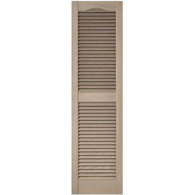 15 in. x 55 in. Louvered Vinyl Exterior Shutters Pair in #023 Wicker