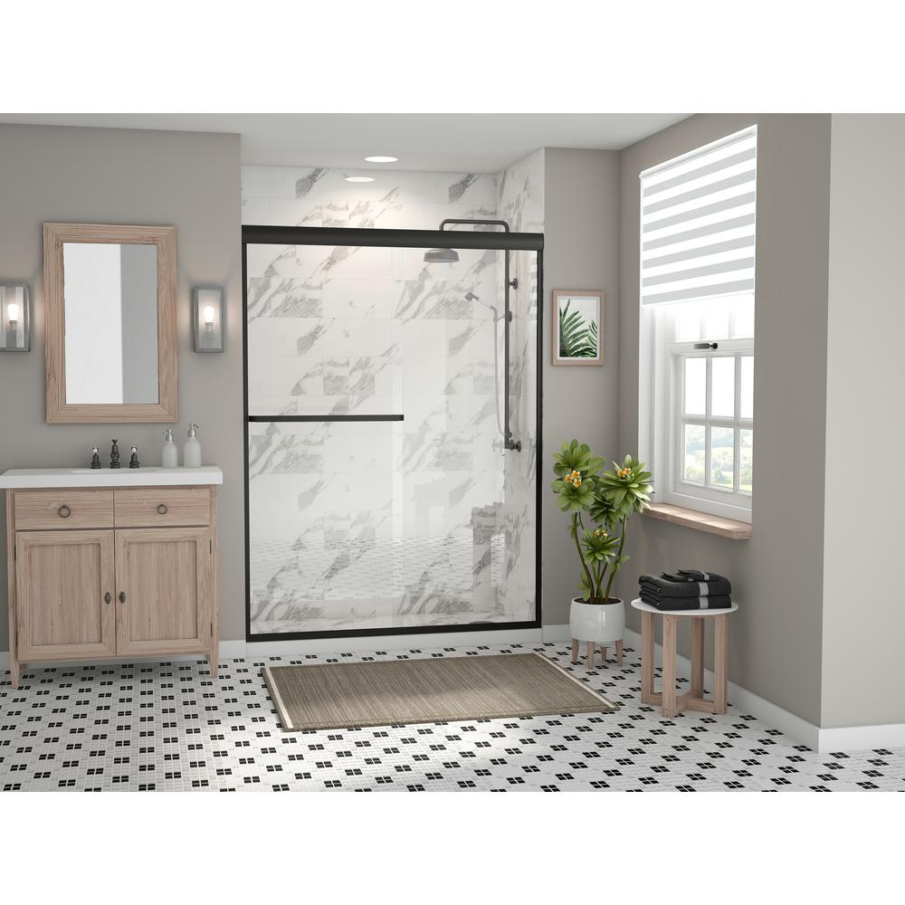 Coastal Shower Doors Paragon 3 16b Series 46 In X 69 In Semi Frameless Sliding Shower Door With Towel Bar In Matte Black And Clear Glass 5246 69o C The Home Depot