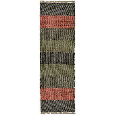 Striped Leather 2 ft. 6 in. x 12 ft. Runner