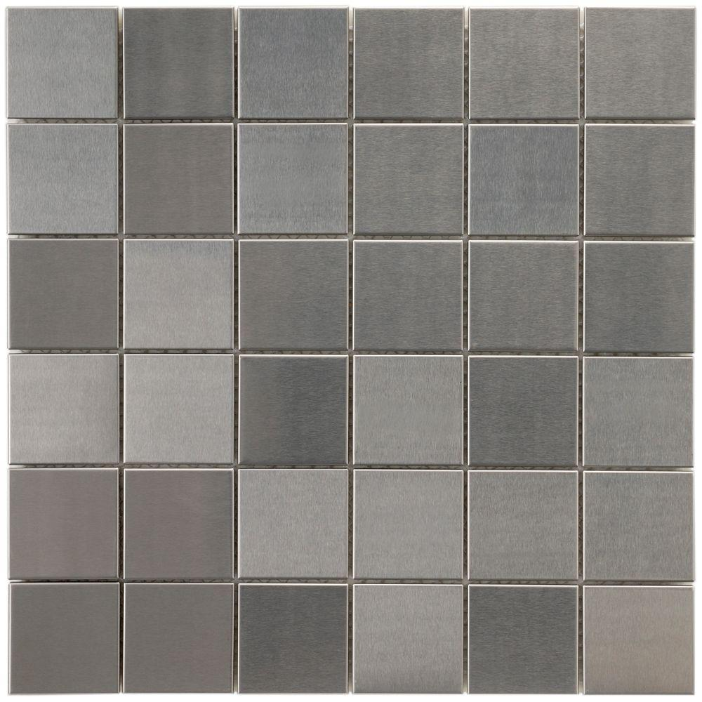 Merola Tile Alloy Quad 11-7/8 in. x 11-7/8 in. x 8 mm Stainless Steel Over Porcelain Mosaic Tile