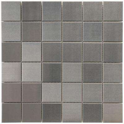 Alloy Quad 11-7/8 in. x 11-7/8 in. x 8 mm Stainless Steel Over Porcelain Mosaic Tile
