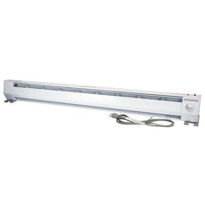 KP Portable 5 ft. 120-Volt 750-Watt/1500-Watt 2-Stage Eco Baseboard Heater in White