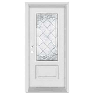 37.375 in. x 83 in. Art Deco Right-Hand Inswing 3/4 Lite Zinc Finished Fiberglass Mahogany Woodgrain Prehung Front Door