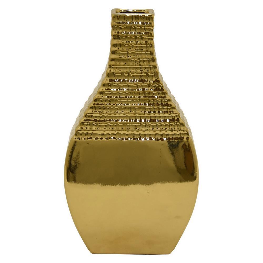 three hands textured gold ceramic decorative vase 79644 the home depot