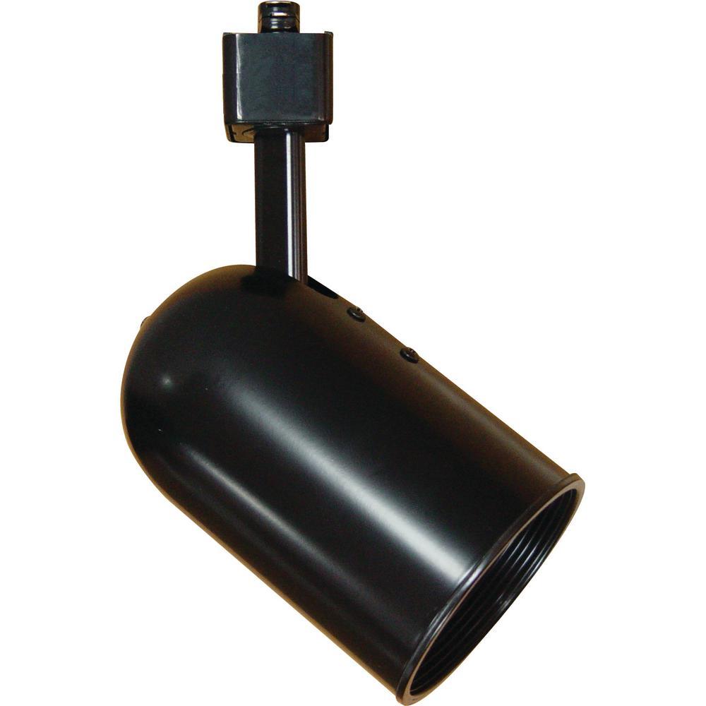 1-Light Black Adjustable Small Round Back Cylinder Track Lighting Head