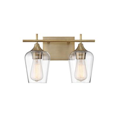 2-Light Warm Brass Bath Light