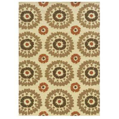 Le Soliel Collection Ivory and Terracotta 1 ft. 10 in. x 2 ft. 10 in. Outdoor Area Rug