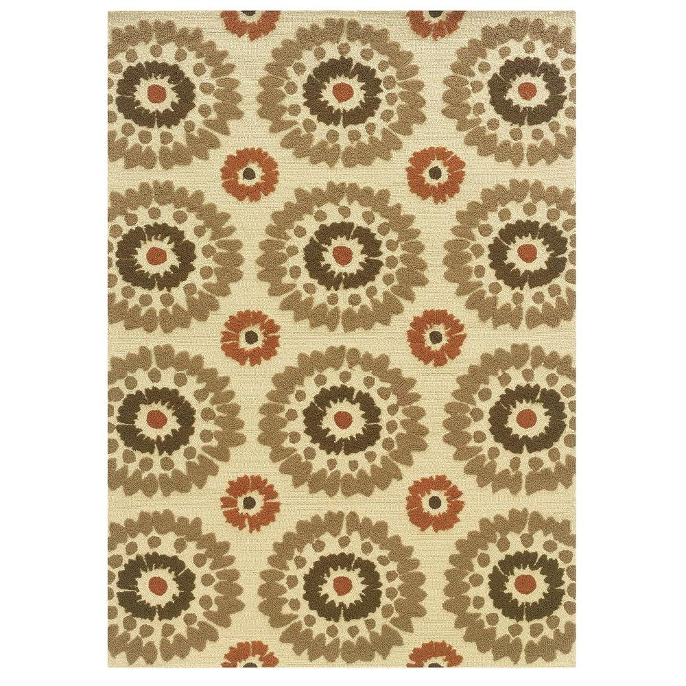 Linon Home Decor Le Soliel Collection Ivory And Terracotta 5 Ft X 7 Ft Outdoor Area Rug Rug