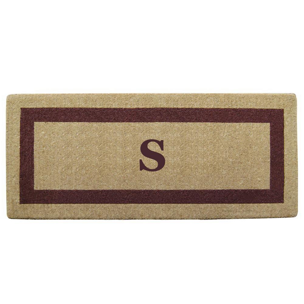 Single Picture Frame Brown 24 in. x 57 in. Heavy Duty Coir Monogrammed S Door Mat