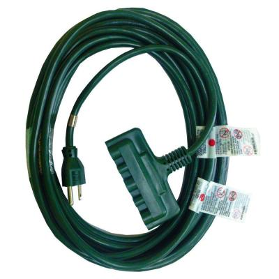50 ft. 16/3 HDX Holiday Tri-Tap Extension Cord in Green