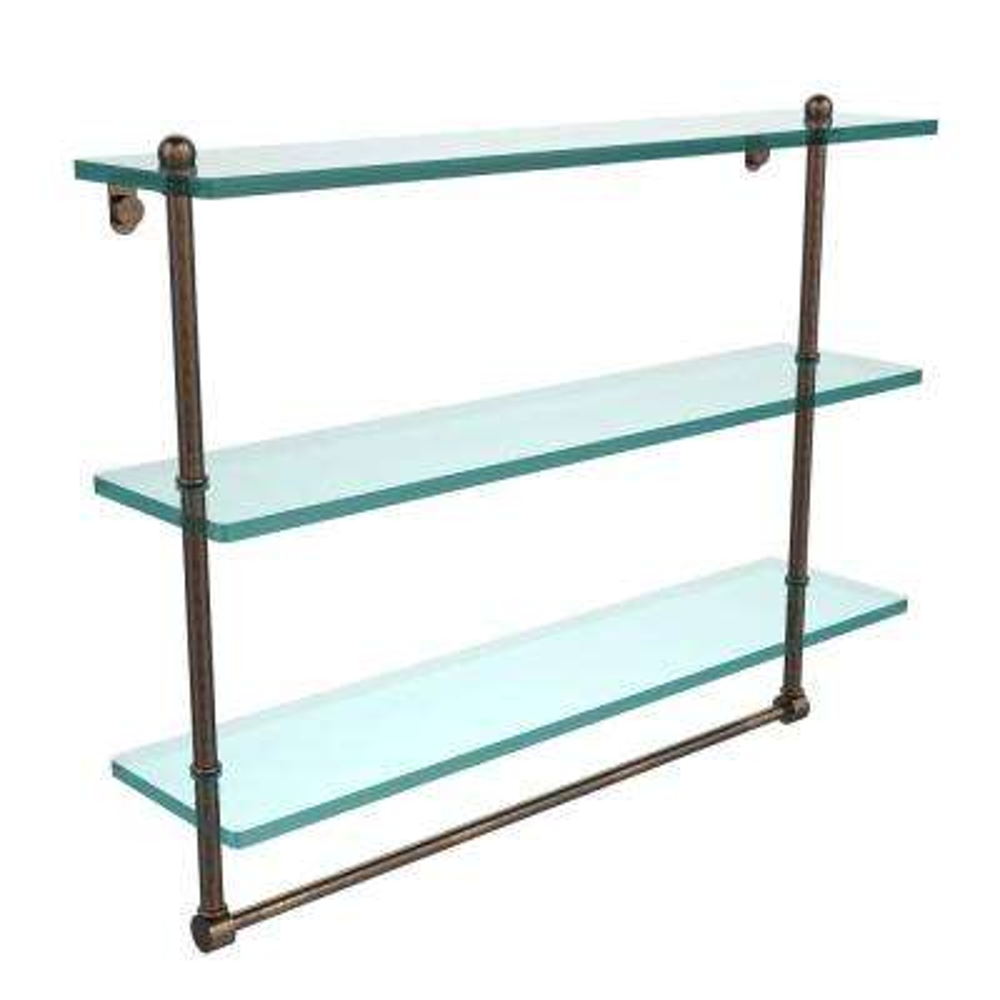 22 in. L  x 18 in. H  x 5 in. W 3-Tier Clear Glass Bathroom Shelf with Towel Bar in Venetian Bronze