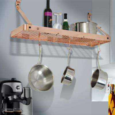 Handcrafted 36 in. Copper Gourmet Deep Bookshelf Wall Rack with 12-Hooks