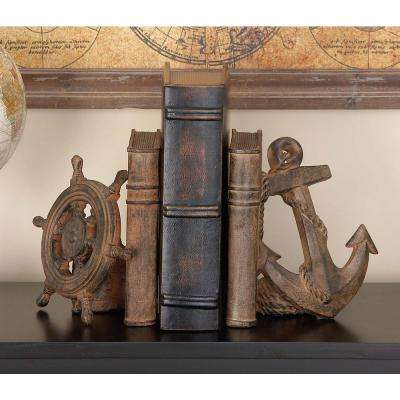 9 in. x 8 in. Polystone Anchor and Shipwheel Bookend