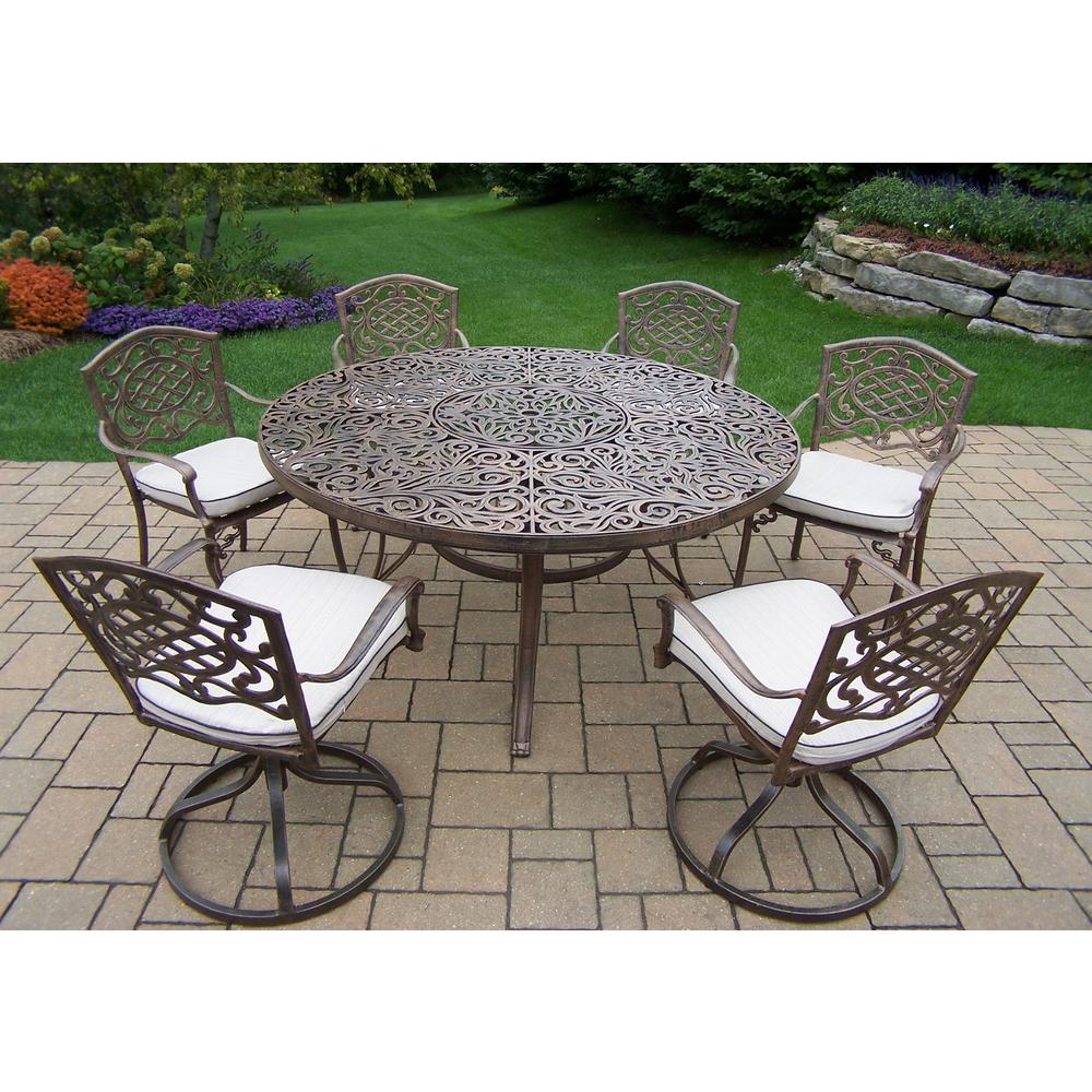 9 Piece Aluminum Outdoor Dining Set With Round Table Cushions 4