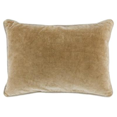 Heirloom Velvet 14 in. x 20 in. Rectangle Solid Stonewash Wheat Decorative Pillow