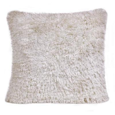 Shag White Solid Fluffy Poly Fill 20 in. x 20 in. Throw Pillow