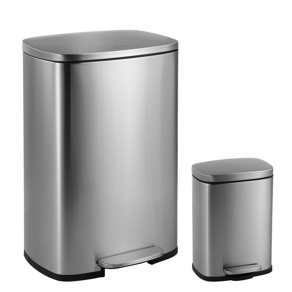 happimess connor rectangular 13 gal stainless steel trash can with soft close lid and free mini. Black Bedroom Furniture Sets. Home Design Ideas