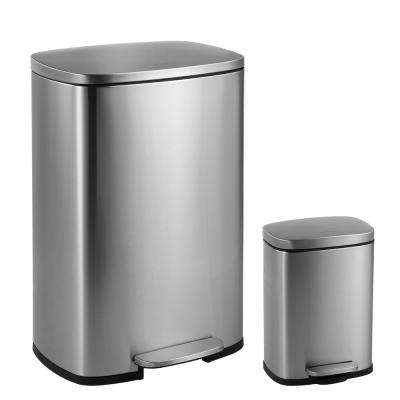 Connor Rectangular 13 Gal. Stainless Steel Trash Can with Soft-Close Lid and Free Mini Trash Can