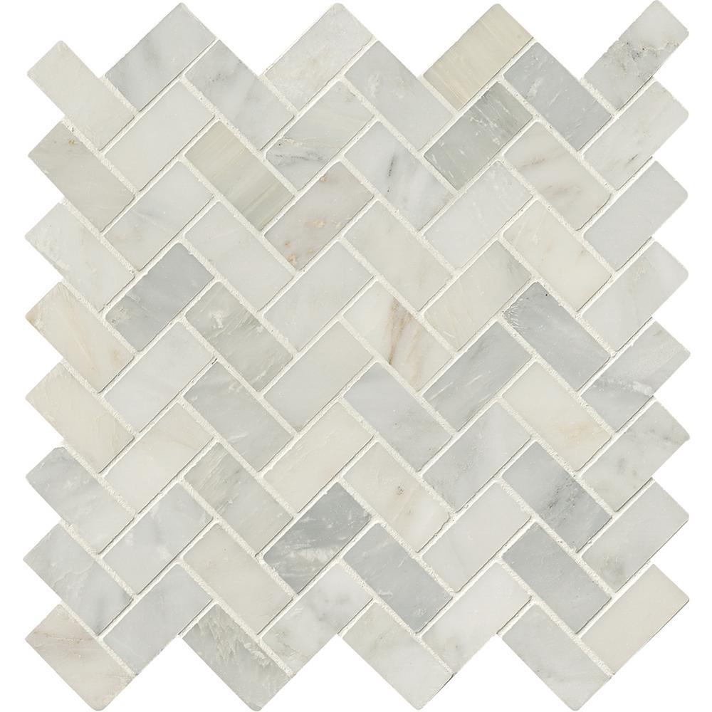 Arabescato Carrara Herringbone Pattern 12 in. x 12 in. x 10 mm Honed Marble Mesh-Mounted Mosaic Tile (10 sq. ft. / case)