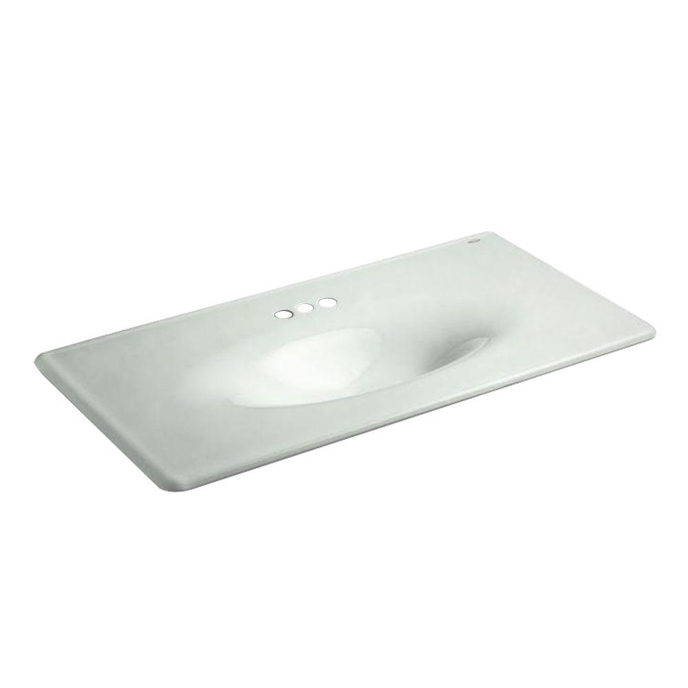22-1/4 in. Iron/Impressions Vanity Top Bathroom Sink in Sea Salt