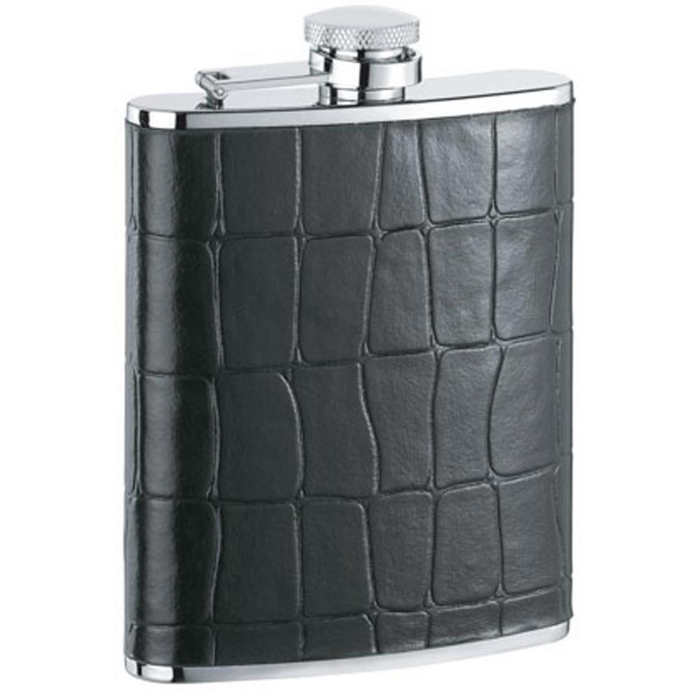 Beau Monde Black Crocodile Leather Hip Flask