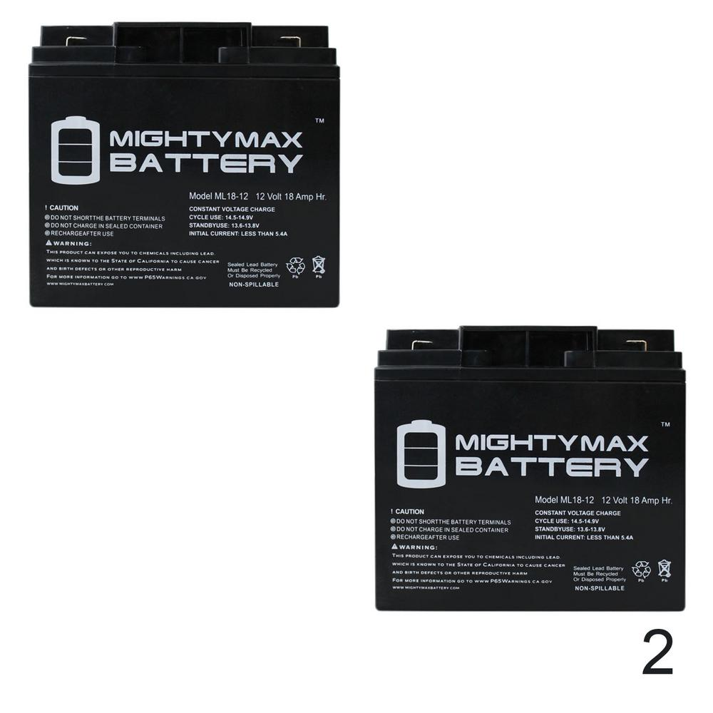 Mighty Max Battery 12 Volt 18 Ah Sla (sealed Lead Acid) Agm Type F2 Terminal Medical Mobility Replacement Battery (2 Pack)