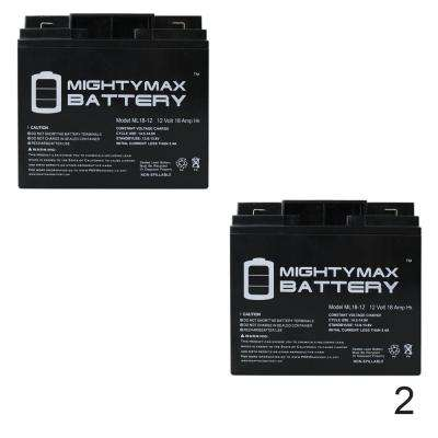 12-Volt 18 Ah SLA (Sealed Lead Acid) AGM Type F2 Terminal Medical Mobility Replacement Battery (2-Pack)