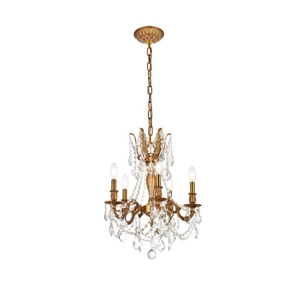 Timeless Home 18 in. L x 18 in. W x 19 in. H 5-Light French Gold with Clear Crystal Traditional Pendant