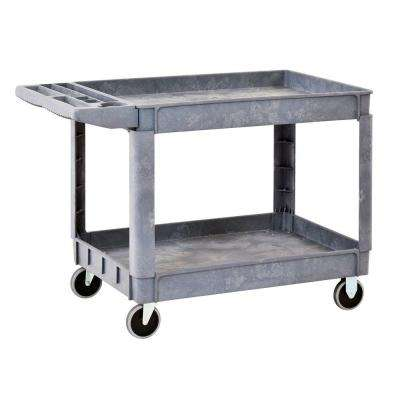 40 in. x 17 in. Heavy Duty 2-Shelf Utility Cart with 5 in. Casters