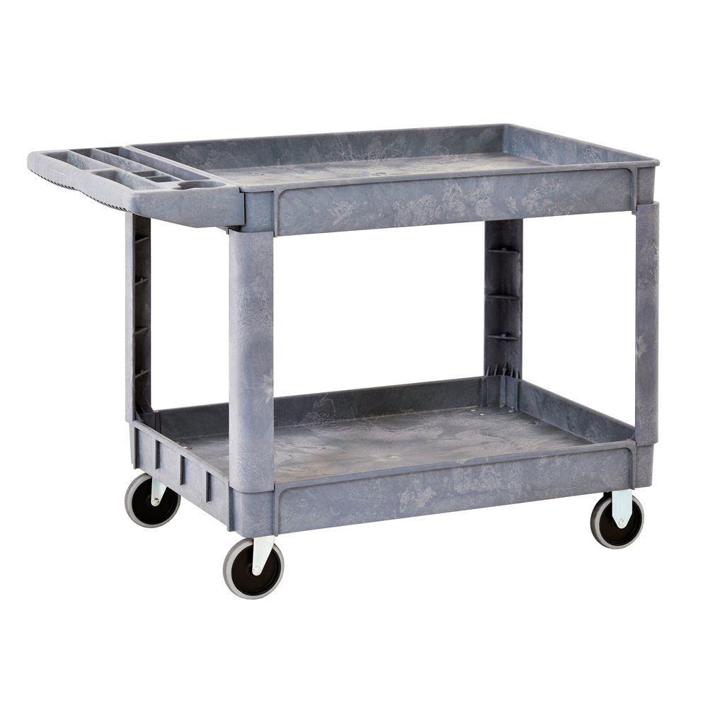 40 in. x 17 in. Heavy Duty 2-Shelf Utility Cart with 5 in. Casters