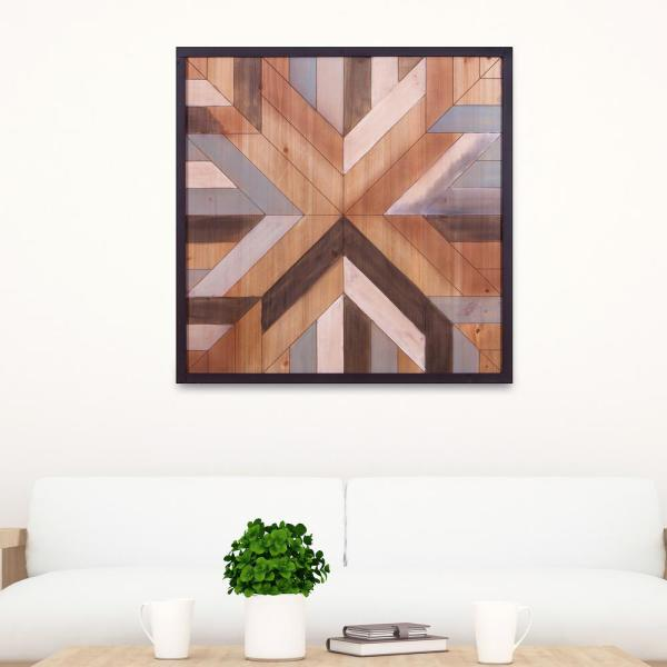 Pinnacle Geometric Quilt Framed Wooden Wall Art 1712 3795 The Home