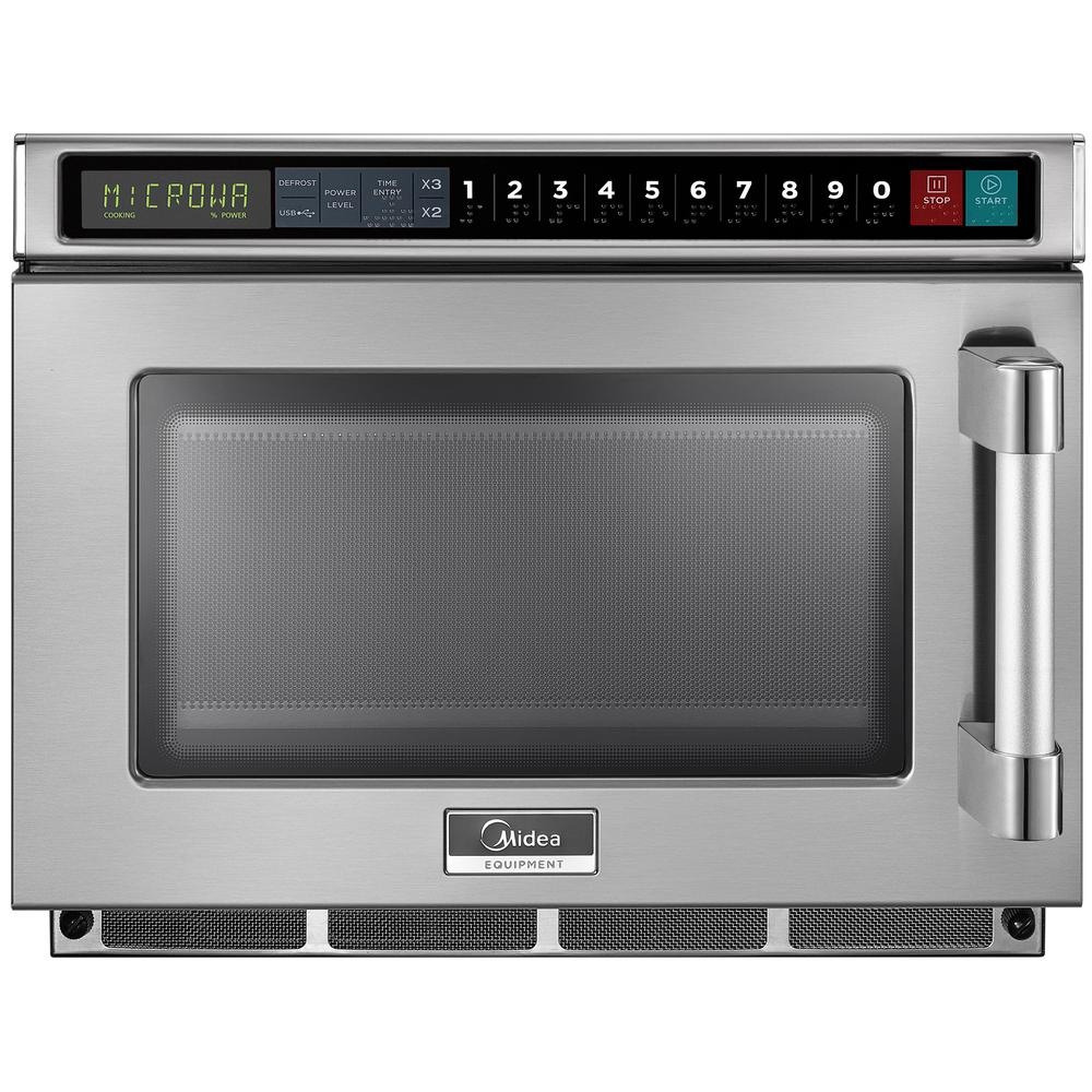 Midea 0.6 cu. ft. 1800-Watt Commercial Counter Top Microwave Oven in Stainless Steel Interior and Exterior, Programmable