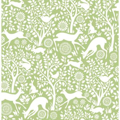 Meadow Green Animals Green Paper Strippable Roll (Covers 56.4 sq. ft.)