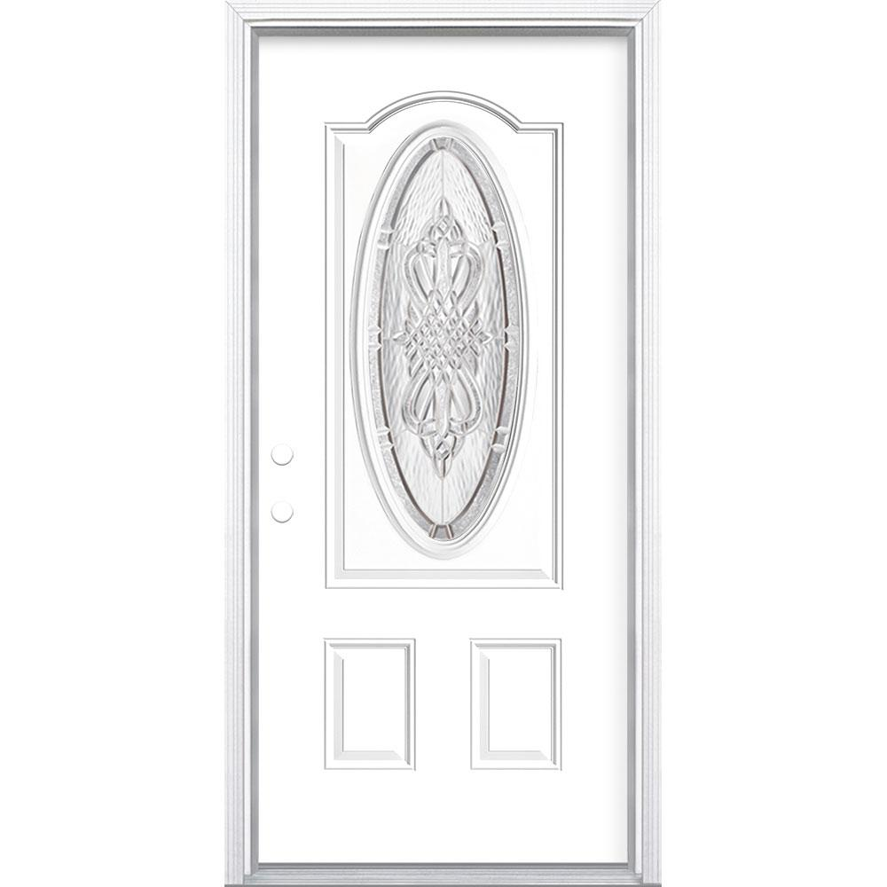 Masonite 36 in. x 80 in. New Haven 3/4 Oval-Lite Right-Hand Inswing Painted Steel Prehung Front Door with Brickmold, Vinyl Frame