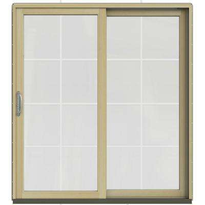 71.25 in. x 79.5 in. W-2500 Desert Sand Prehung Right-Hand Clad-Wood Sliding Patio Door with 8-Lite Grids