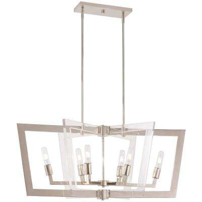 Crystal Chrome 6-Light Polished Nickel Billiard Light
