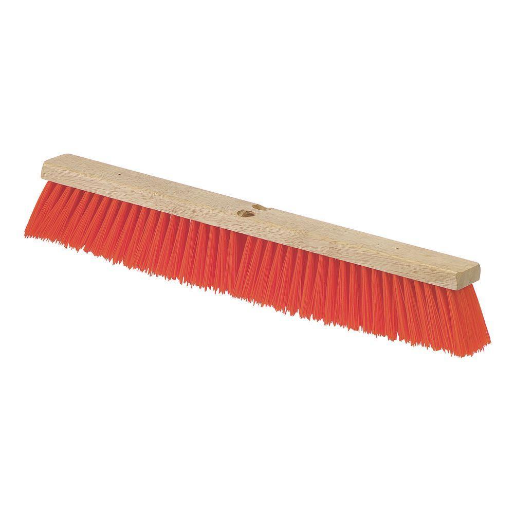 24 in. Polypropylene Orange Bristled Heavy Floor Sweep with Brace (Case of 12)