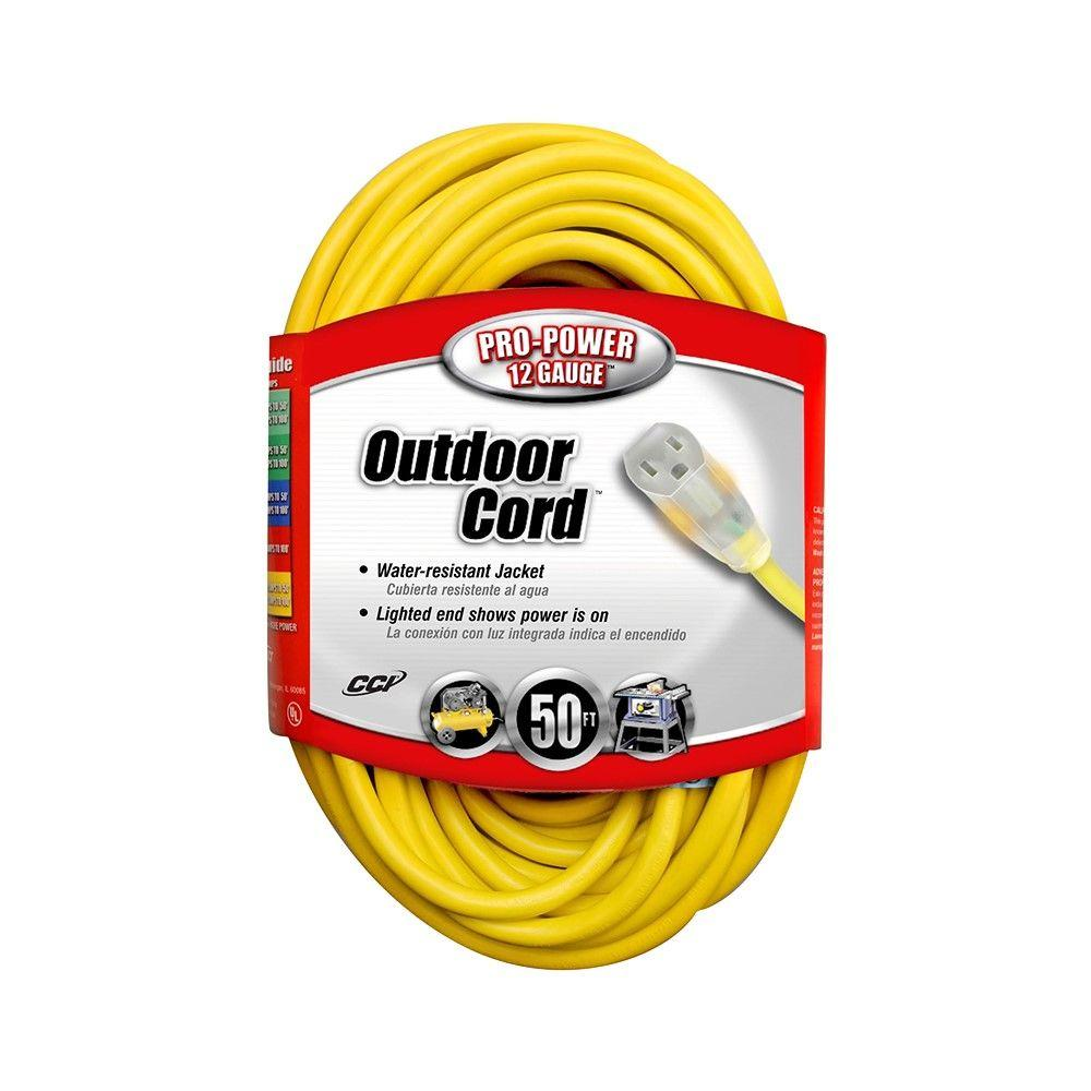 12/3 SJTW 50 ft. Outdoor Tension Cord with Power Light Ends