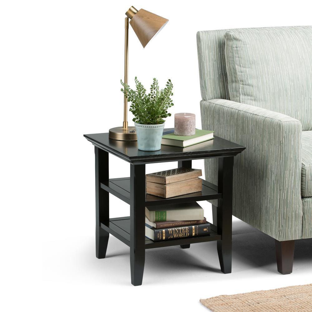 Simpli Home Acadian Black Storage End Table