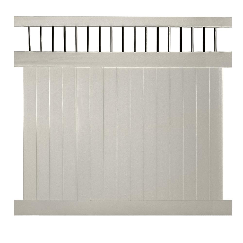 weatherables bradford 7 ft h x 6 ft w tan vinyl privacy. Black Bedroom Furniture Sets. Home Design Ideas